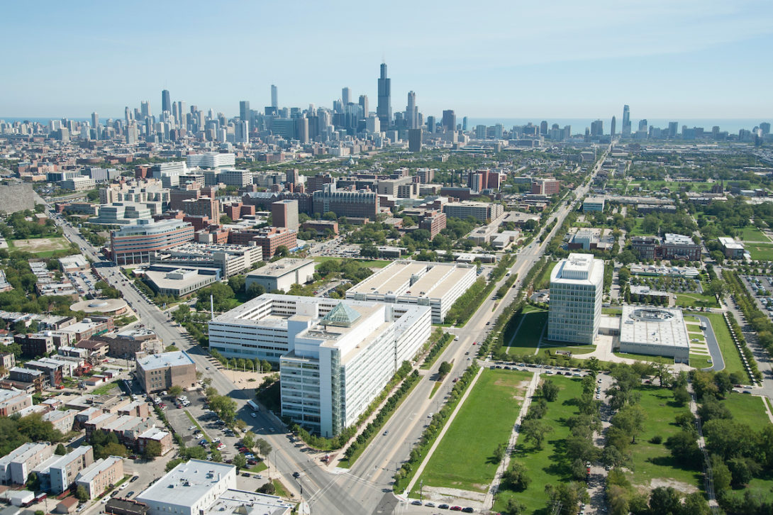 chicago skyline from the south west