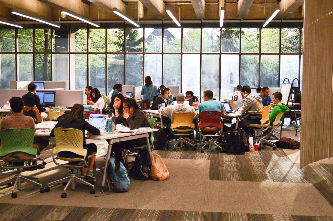 students at work in the UIC library