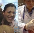 Medicine students practicing medicine.