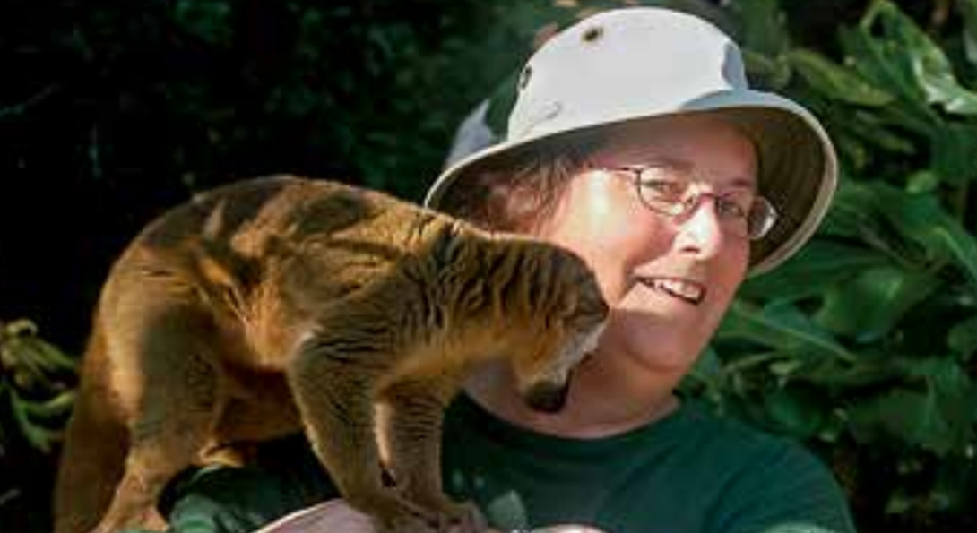 Donna Farley hanging out with lemurs in Madagascar.