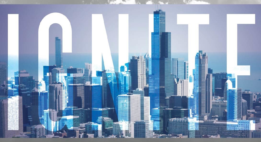 Ignite overlay with Chicago skyline