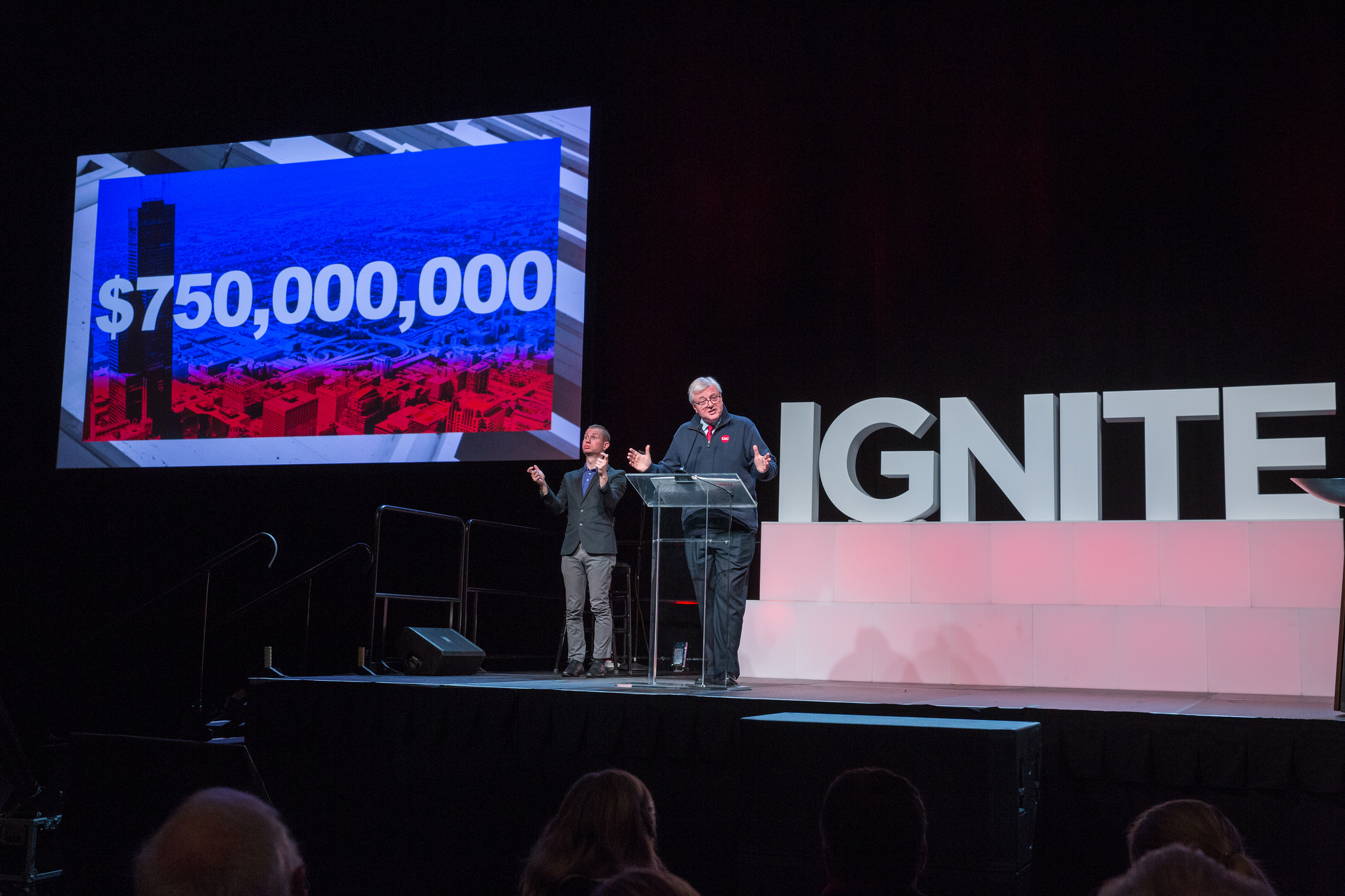chancellor amiridis addresses audience at IGNITE campaign launch