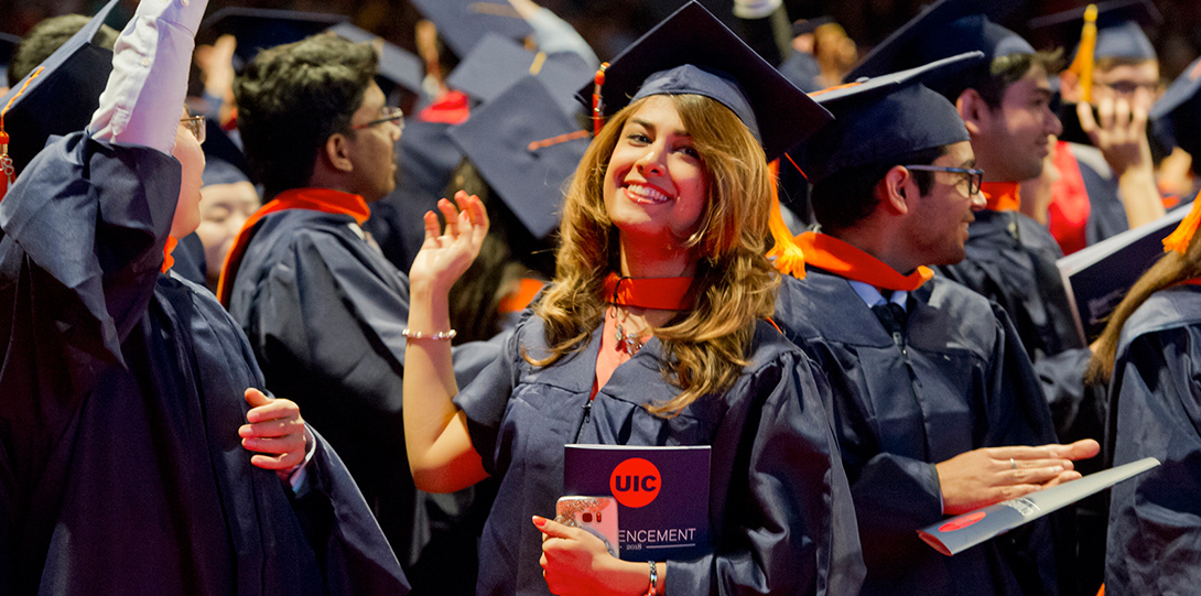 2018 Spring Commencement - Graduate Waves and Celebrates