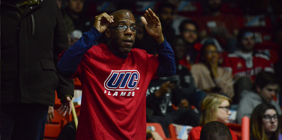 uic alumnus reacts to basketball game