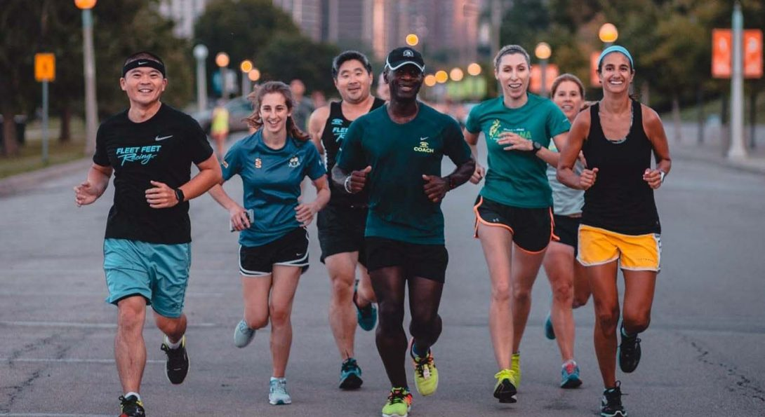 UIC alumnus and architect Kerl LaJeune (center) leading a group of runners