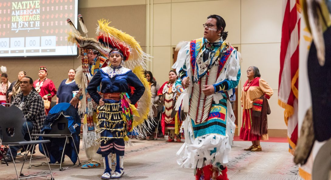 Performers at the 2019 Native American Month Annual Powwow at UIC