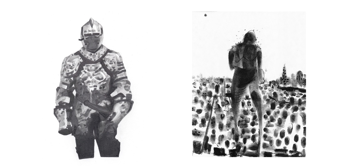 Ink wash interpretation of Gang Proof Suit for the Chicago Social Practice History Series.