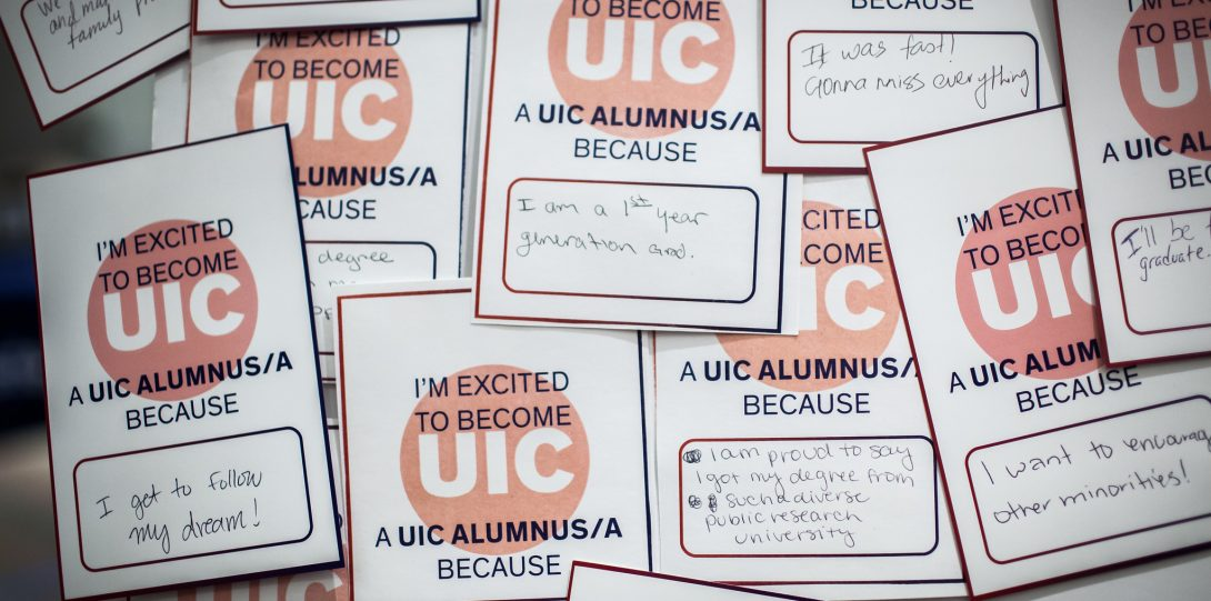 Stickers that explain why people are excited to be UIC alumni