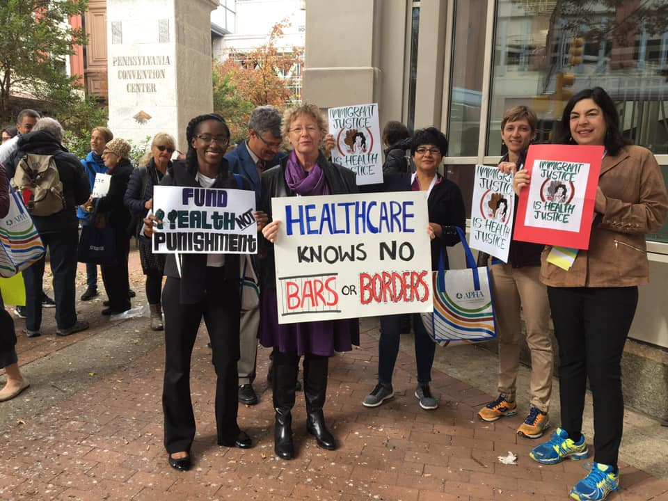 RPH members participate in a rally for healthcare accessibility.